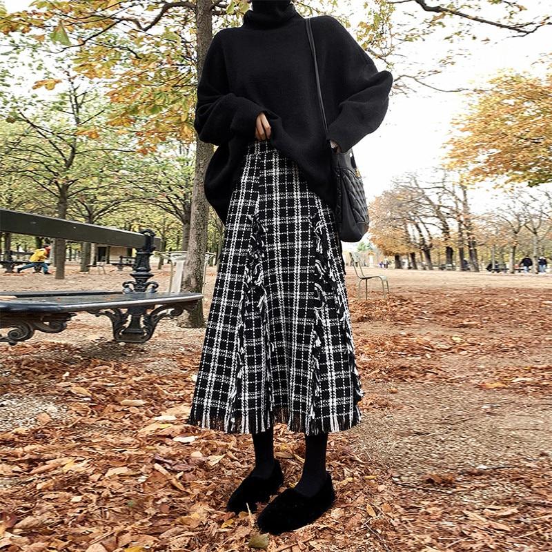 Elegant Women Spring Autumn Skirt Women Empire Wool Tassels Skirts Plaid Mid Skirts 2019 Casual Ladies Office Skirts S39