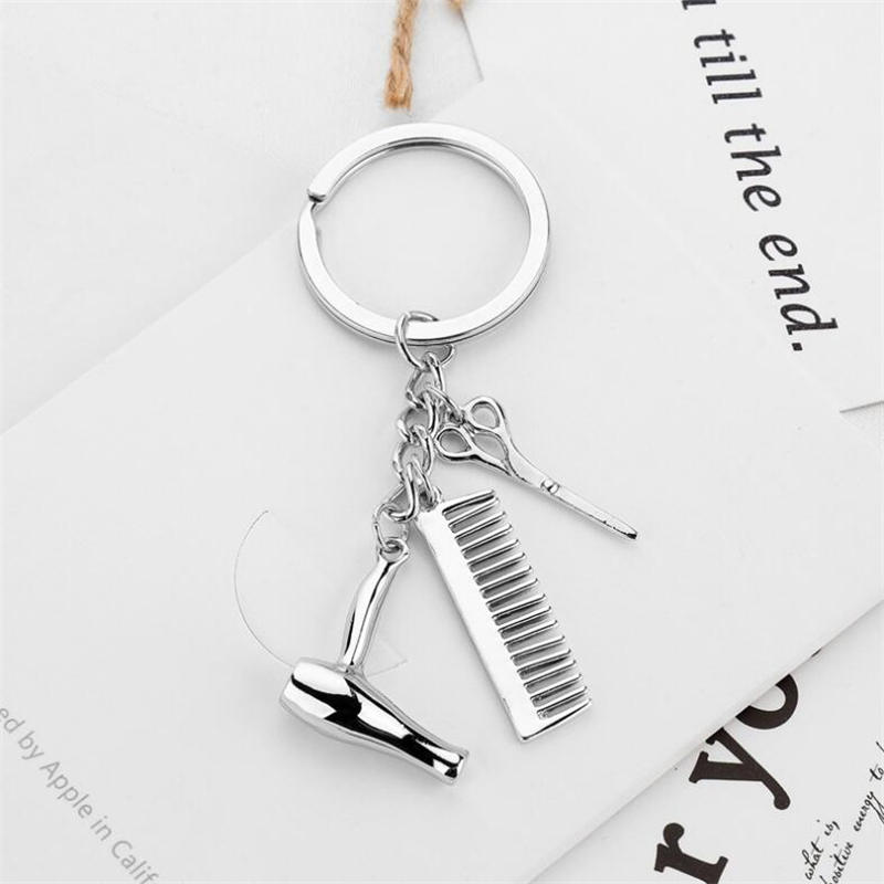 Personality Creative Key Chain Hairdresser Gift Comb Scissors Hair Dryer Car Interior Accessories Key Chain Key 1