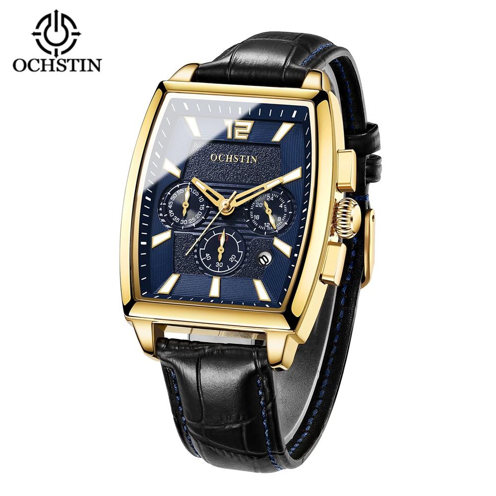 OCHSTIN Square Men Watch Business Waterproof Quartz Leather Wrist Watch Men Clock Male Relogio Masculino Hodinky Erkek Kol Saati