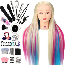 Neverland 29 Polegada colorido cabelo sintético manequim cabeça para hairstyles cabeleireiro formação cabeça boneca manequim braçadeira acessórios