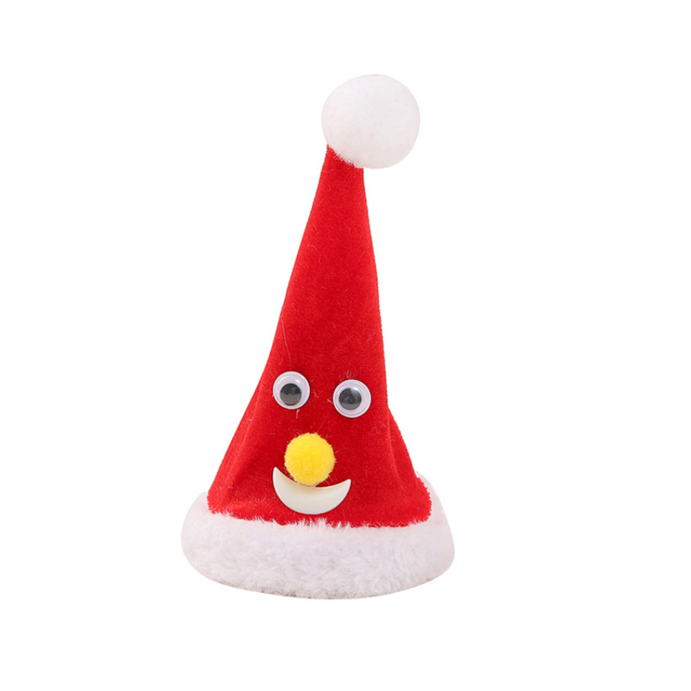 6 Inch Electric Christmas Tree Hat Music Swing Hat  Bell Lighted StarToy Innovative Decoration Supplies Xmas Cap For Santa Claus