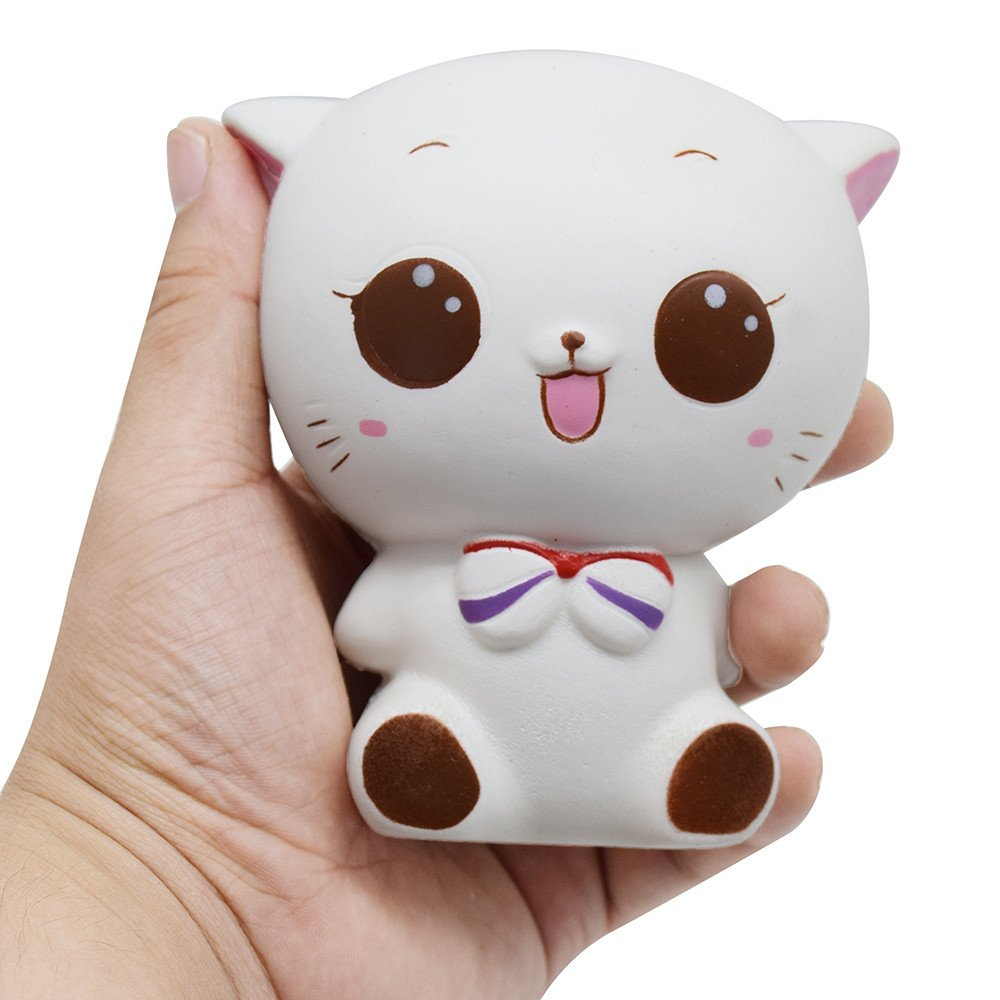 Cute Squishy White Cat Slow Rising Squeeze Healing Fun Kids Kawaii Kids Adult Toy Stress Reliever Decor