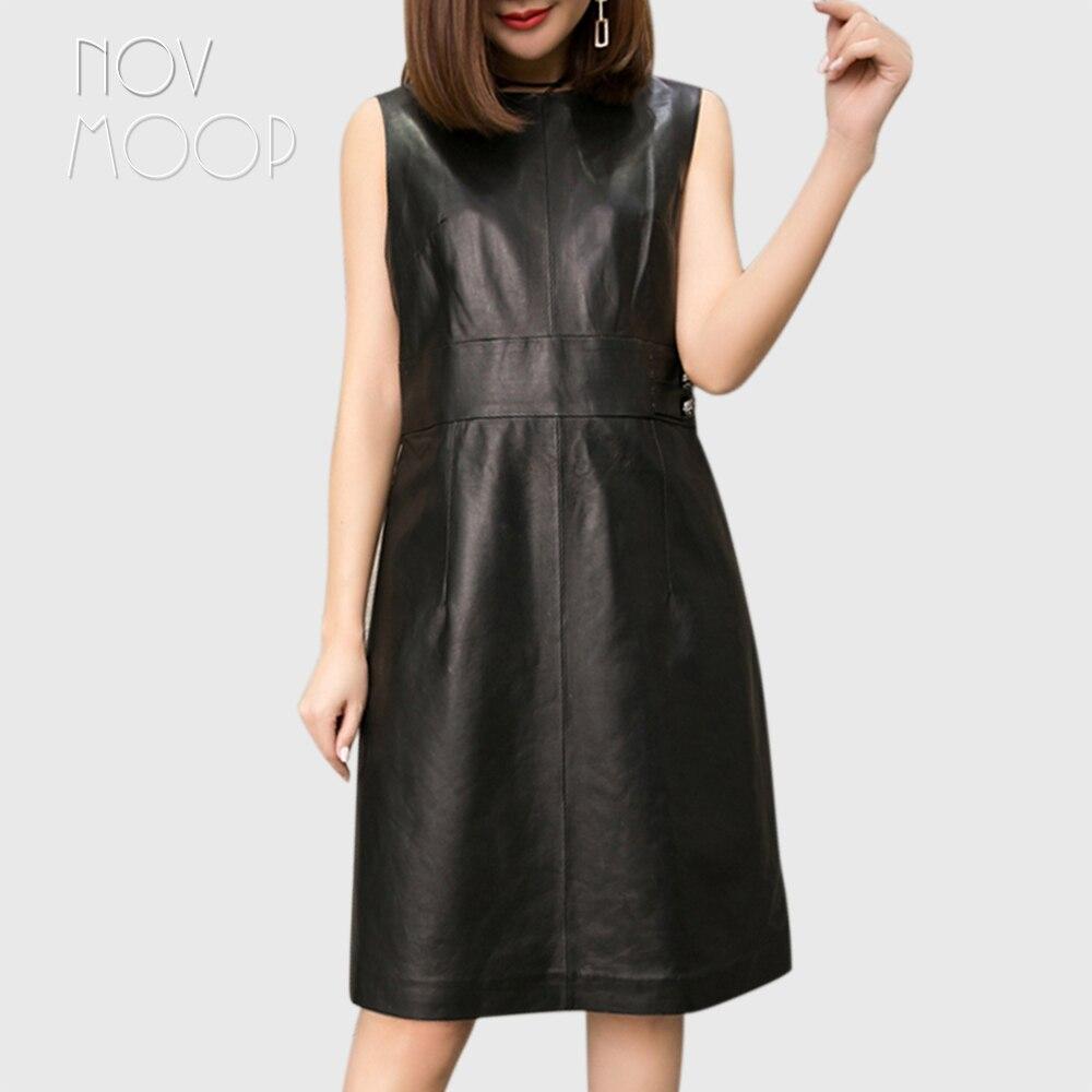 Novmoop élégant sexy noir o-cou naturel en cuir véritable automne hiver femmes robe avec bouton fermeture éclair décor robe femme LT2810