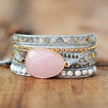Премиум браслет wrap W/натуральные камни уютный веганский шнур плетение себе браслет Ювелирные изделия Подарки