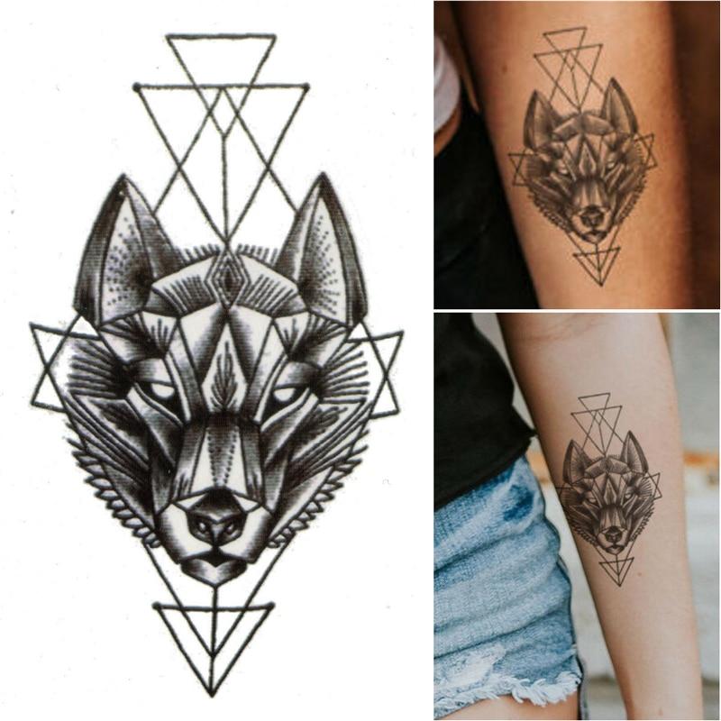 1pcs Waterproof Temporary Tattoo Sticker Geometry Animal Wolf Fake Tattoo Sticker Body Art Water Transfer Sticker Decals