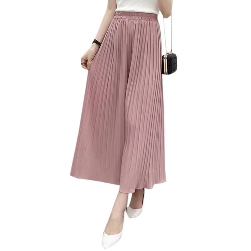 Pants Pantalones Mujer Women Sweet Pleated Loose Thin Wide Leg Pants Cotton Blend Nine Thin Breathable Casual Nine Pants*