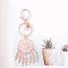 Simple Key Chain With Flower Metal Dream Catcher For Bohemian Style Pendant Wall Car Hanging Decor