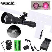 Luz infrarroja ajustable con zoom de 400 yardas, linterna táctica de caza, iluminador de visión nocturna IR de 850nm, luz de arma con láser rojo