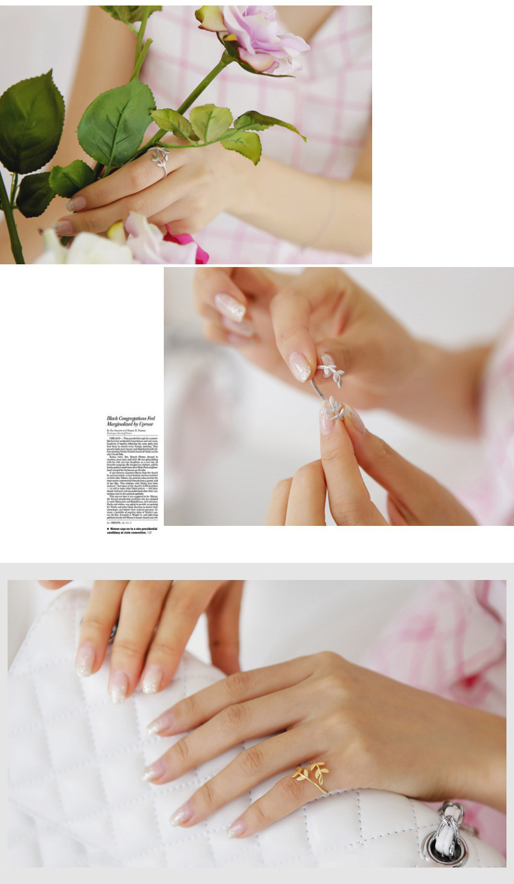 Charms Rings For Women Olive Leaf Rose Gold Silver Color Open Ring Female Girl Wedding Engagement Ring Adjustable Anillos Mujer