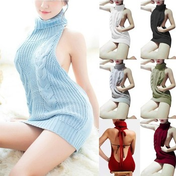 2020 hot style long edition spring sexy backless women turtleneck sleeveless sweater knit jumper for