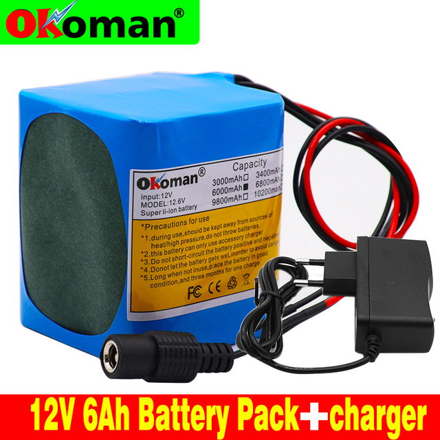 100% Original battery pack12V 6000mAh 18650 lithium ion rechargeable battery 6Ah DC12.6V portable battery pack with BMS+charger