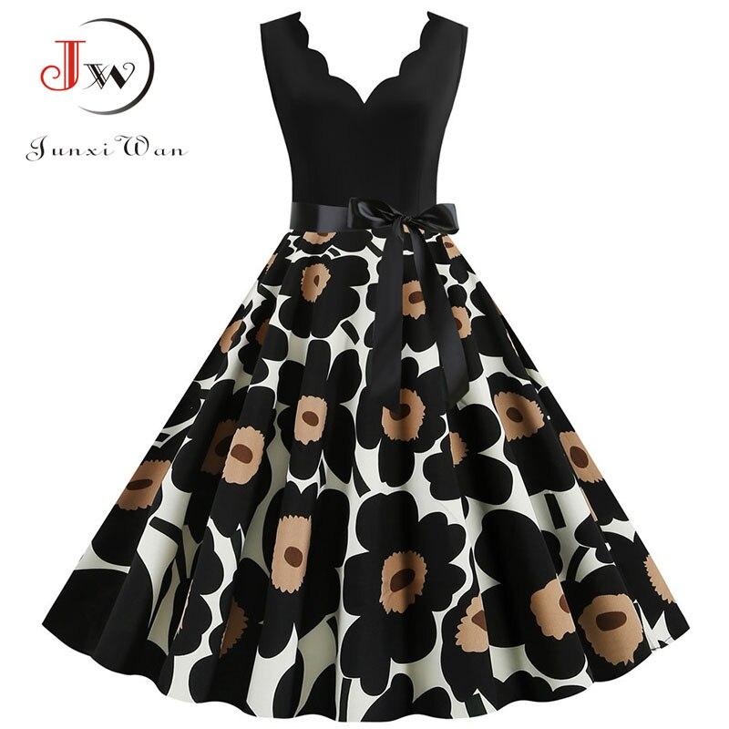Black Floral Summer Dress Women 2020 Pinup Elegant Vintage Party Dress Casual Office Tank Sleevelss A Line Plus Size Vestidos