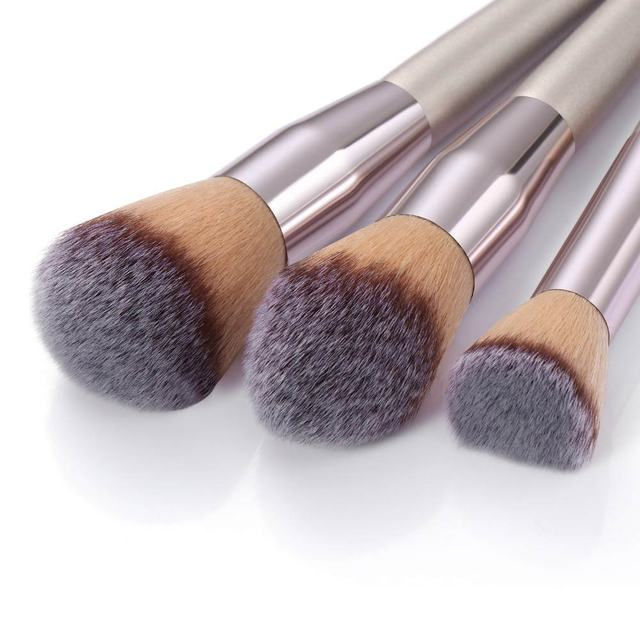 10pcs Champagne Makeup Brushes Set Foundation Powder Blush Eyeshadow Concealer Lip Eye Make Up Brush Cosmetics For Make Up Tools 4