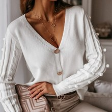 Sweater Cardigan Tops V-Neck Simplee Long-Sleeve Knitted Women White Elegant Casual Autumn