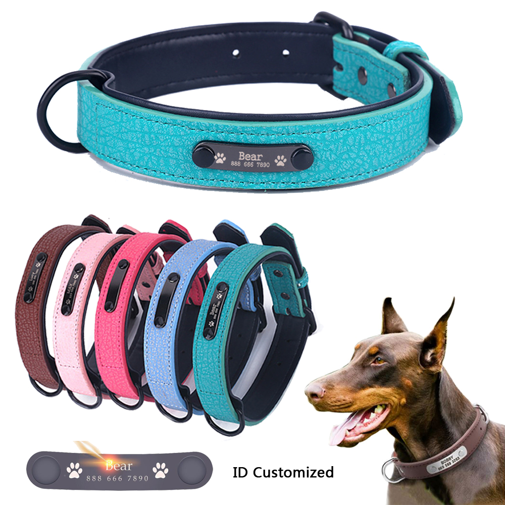 Large Durable Personalized Dog Collar PU Leather Padded Pet ID Collars Customized for Small Medium Large Dogs Cat 5 Size