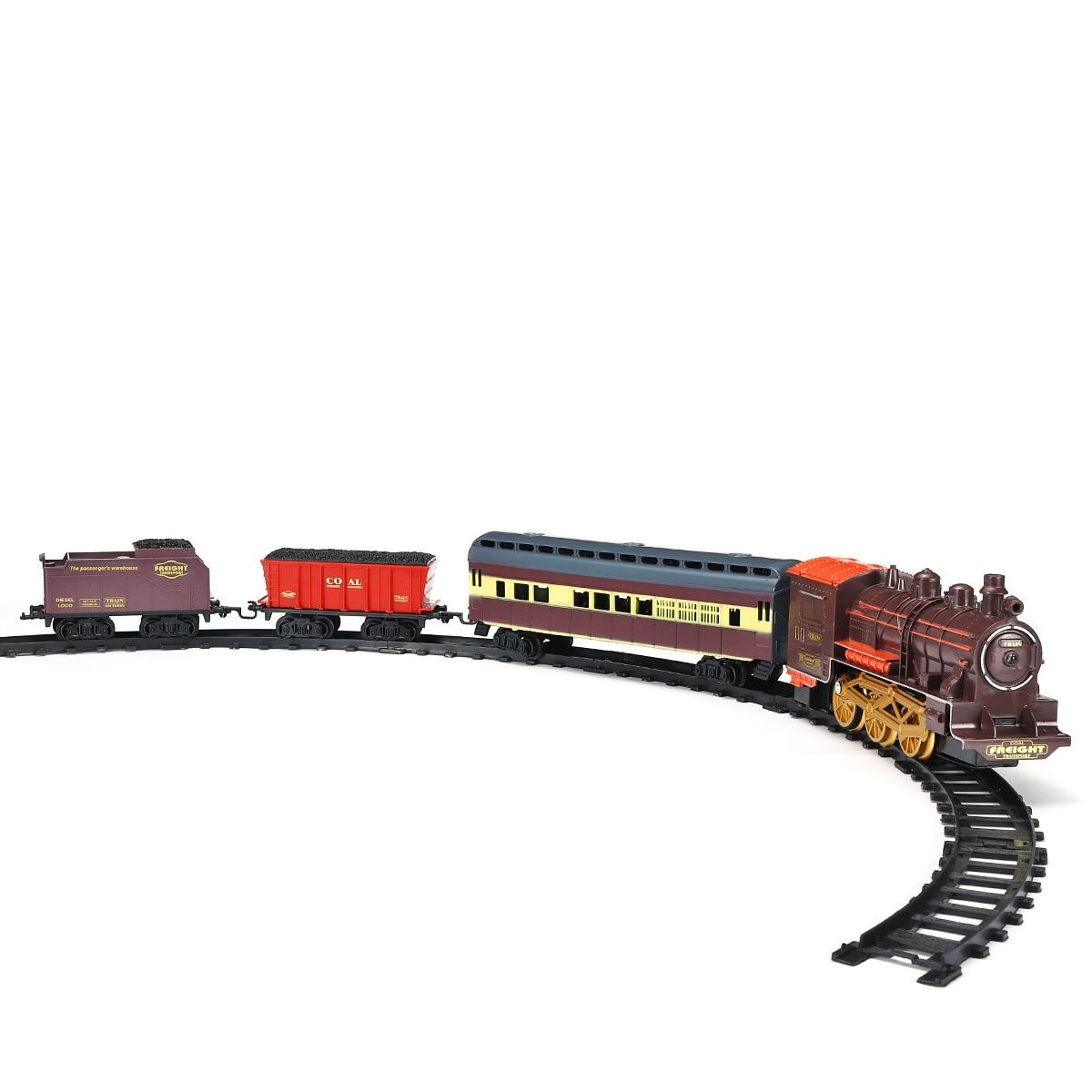Retro Electric Train Toy Rails Remote Control Train Model Railway Set Train Dynamic Steam RC Trains Set Simulation Model Toy Set