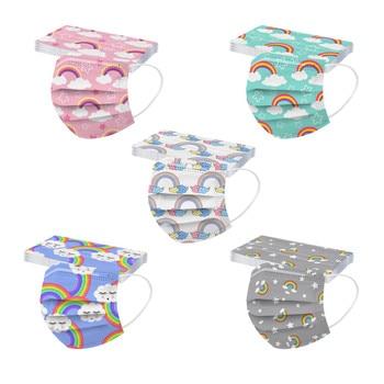 50PCS Rainbow Print Unisex Kids Disposable Mask 3 Layer Filter Hygiene Thicken Children's Face Mouth Mask Earloop Mascarilla недорого