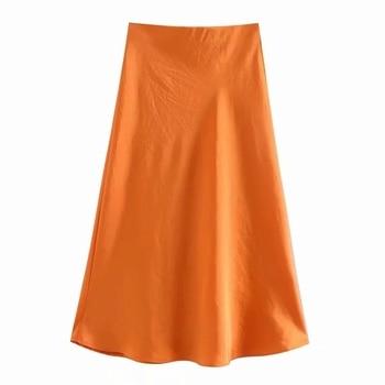 Women's Satin-Elastic Waist Skirts