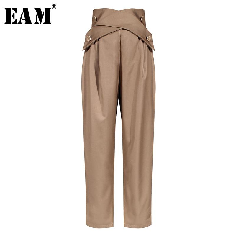 [EAM] High Waist Black Cross Button Split Long Suit Trousers New Loose Fit Pants Women Fashion Tide Spring Summer 2020 1W906