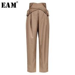 [EAM] High Waist Black Cross Button Split Long Suit Trousers New Loose Fit Pants Women Fashion Tide Spring Summer 2021 1W906