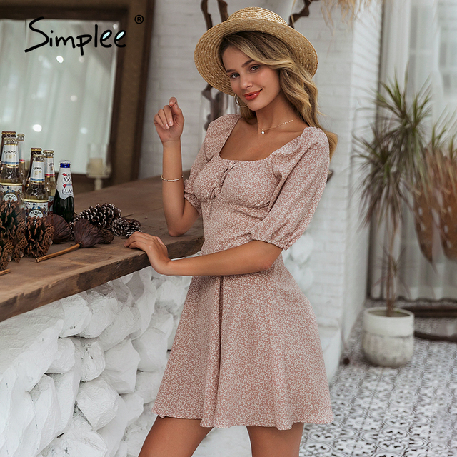 Simple Elegant square collar summer chiffon ruffled boho dress  4