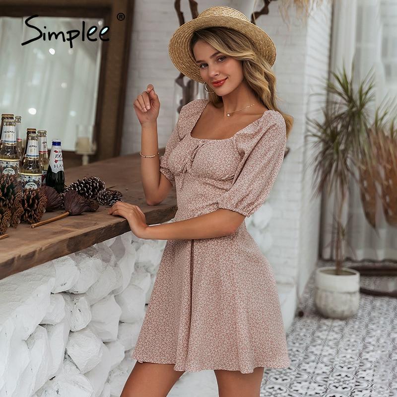 Simplee Elegant square collar summer chiffon dresses Casual beach women vintage ruffles boho dress robe femme dresses vestidos 3