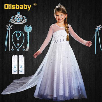 Summer Princess Elsa Dress for Girls Halloween Anna Elsa Costume Crystal Birthday Dress with Fairy Long Tail Party Elsa Dress Up baby girls dress christmas anna elsa cosplay costume summer dresses girl princess elsa dress for birthday party vestidos menina