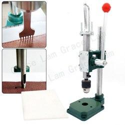 Punzón de agujero Máquina de cincel de costura silenciosa con portabrocas para artesanía de cuero DIY Perforadora manual Estampación y perforación herramientas de cuero