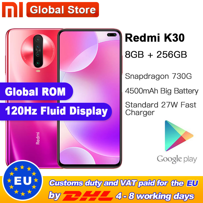 Global ROM Xiaomi Redmi K30 8GB 256GB 4G Smartphone Snapdragon 730G Octa Core 64MP Camera 120HZ Fluid Display 4500mAh