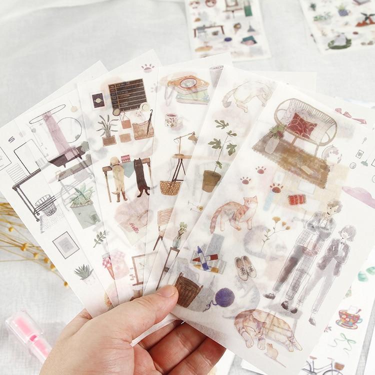 6 Pcs/lot Love Cat Series Bullet Journal Decorative Washi Stickers Set Scrapbooking Stick Label Diary Stationery Album Sticker