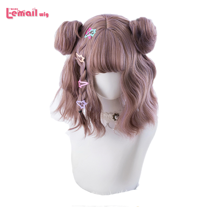 L-email Wig Mixed Color Lolita Wigs Short Wave Wig With Buns Gothic Cosplay Wigs Heat Resistant Synthetic Hair Japanese Hallowee