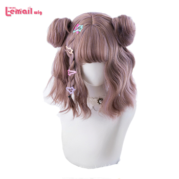L-email wig Mixed Color Lolita Wigs Short Wave Wig with Buns Gothic Cosplay Heat Resistant Synthetic Hair Japanese Hallowee - discount item  35% OFF Synthetic Hair