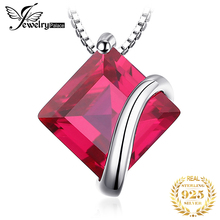 JewelryPalace Classic Square 3.3ct Created Red Ruby Pendant Charm 925 Sterling Silver Brand Wedding Fine Jewelry Without a Chain jewelrypalace luxury pear cut 7 4ct created emerald solid 925 sterling silver pendant necklace 45cm chain for women 2018 hot