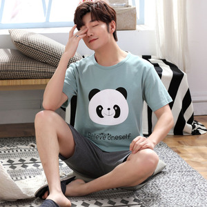 Image 2 - Yidanna cartoon short sleeve pajamas set for men minions sleepwear plus size pyjamas cotton nightwear O neck homedress in summer
