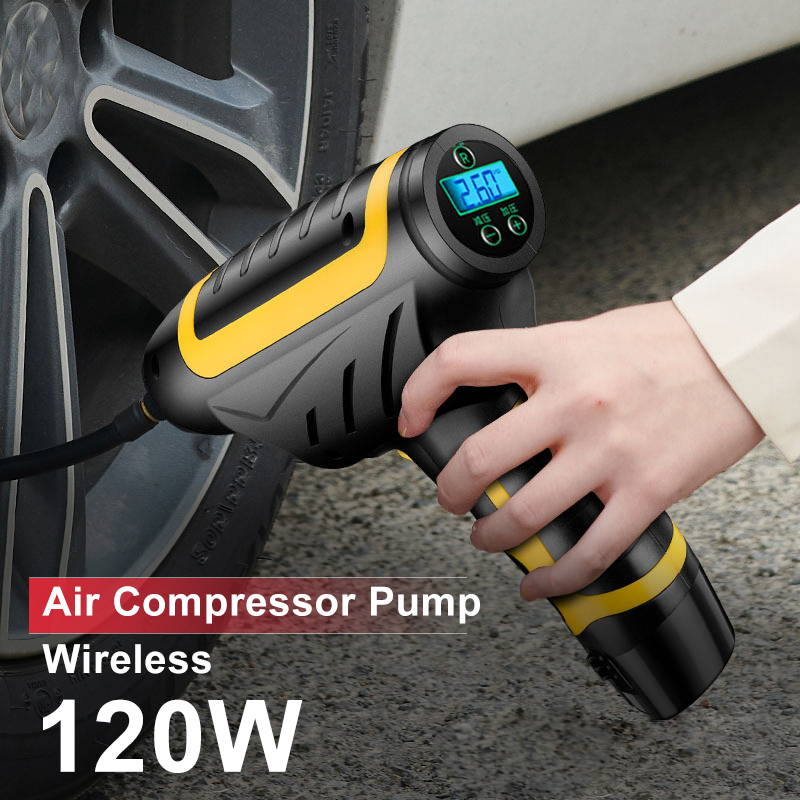 120W Wireless Car Air Compressor Pump Digital LED 150 PSI Smart Car Tire Inflator Handheld USB Rechargeable Inflatable Pump