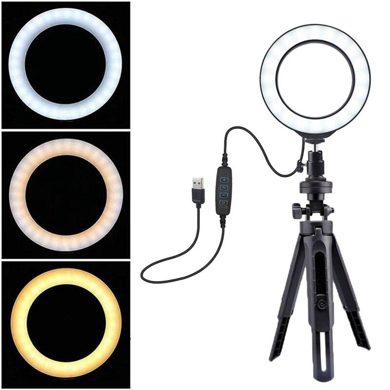 Lumière annulaire de 6 pouces avec support réglable LED avec Mode de lumière réglable 3 pour la photographie de maquillage de flux en direct YouTube