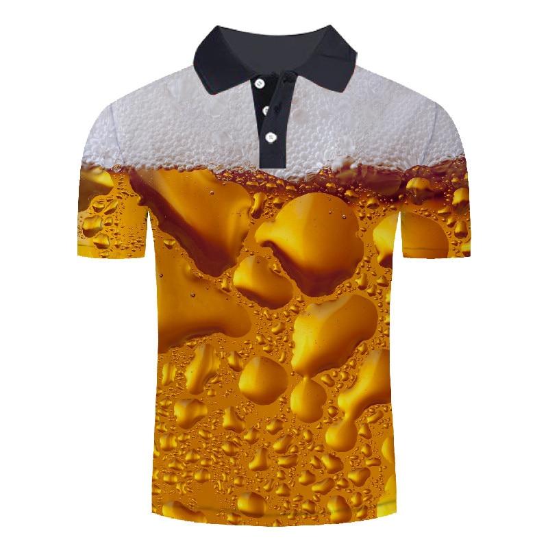 New Fashion Yellow Beer Printed   Polo   Shirts Men Summer Short Sleeve 3D   Polo   Shirts Male Streetwear Man Tee&Tops