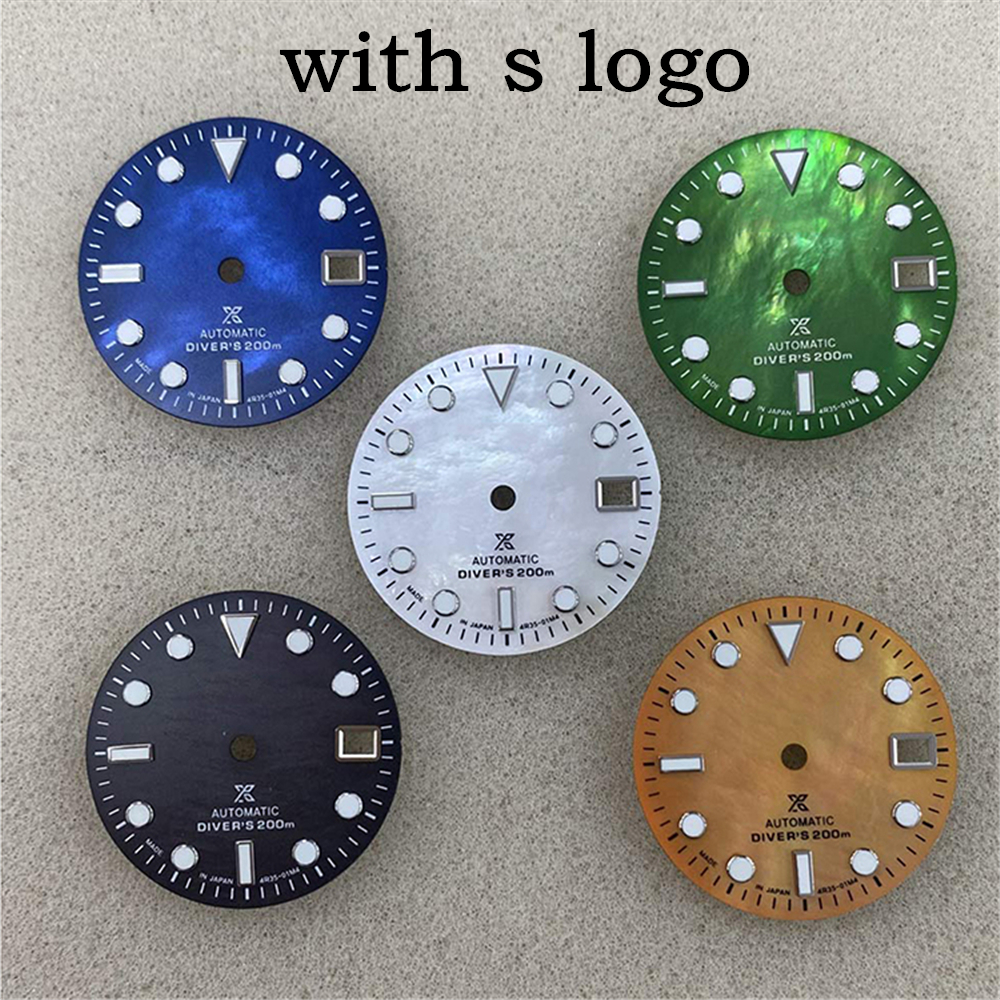29MM Replacement Watch Dial Green Luminous Dial for NH35/4R36 Watch Movement Modification Part