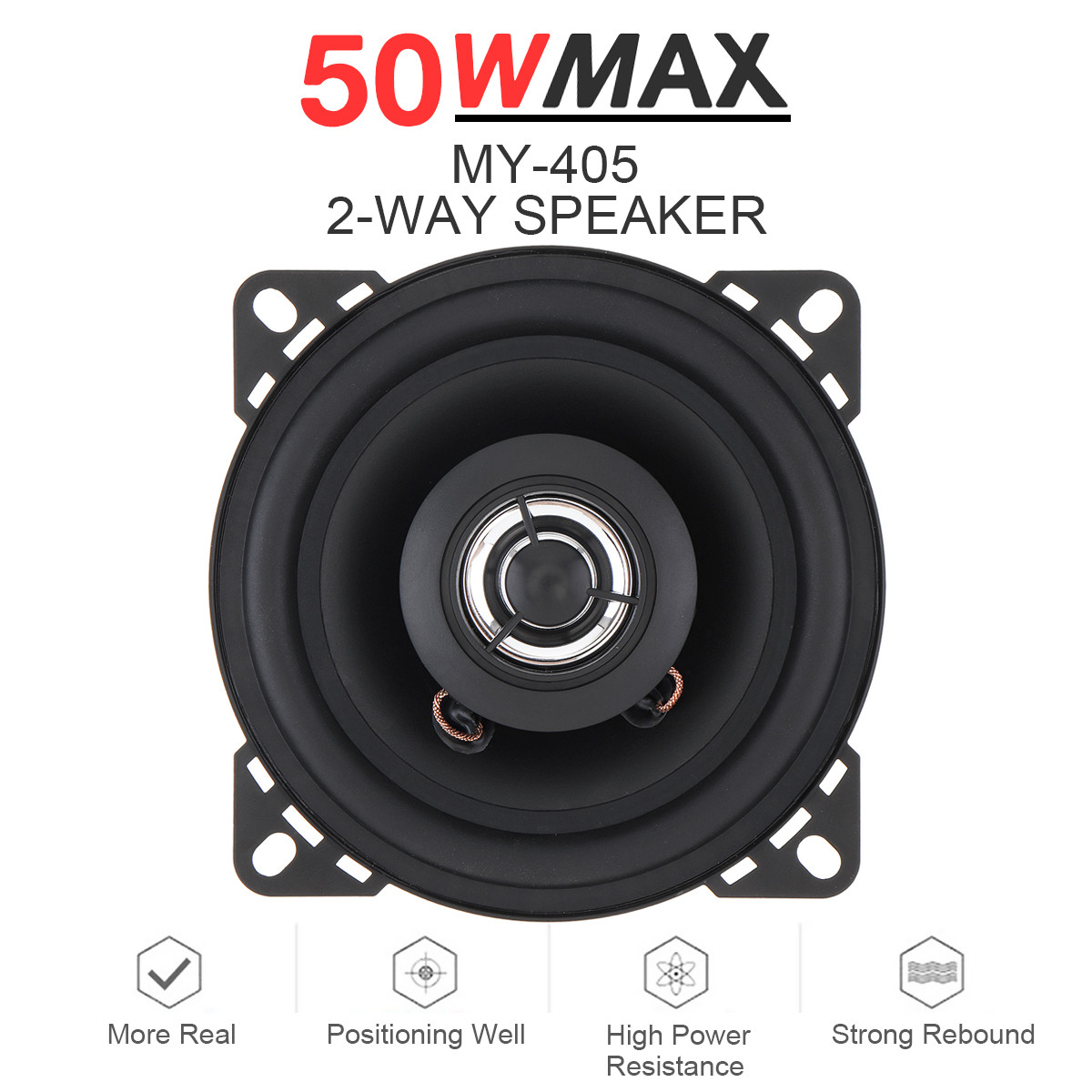 1pcs 4 Inch 10mm 50W 2 Way Car Coaxial Speaker HiFi Vehicle Door Auto Audio Music Stereo Full Range Frequency Car Loudspeakers|Coaxial speakers| - AliExpress