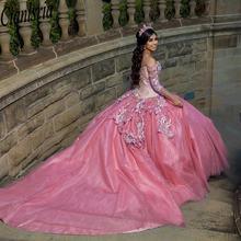 Женское платье с длинным шлейфом розовое аппликацией из бисера