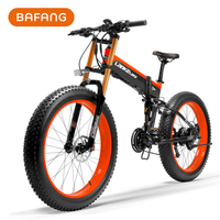 26'' Folding Smart Electric Bicycle, Fat Tire Full Suspension Mountain Bike, 750W Powerful BAFANG Motor, Pedal Assist Snow Bike