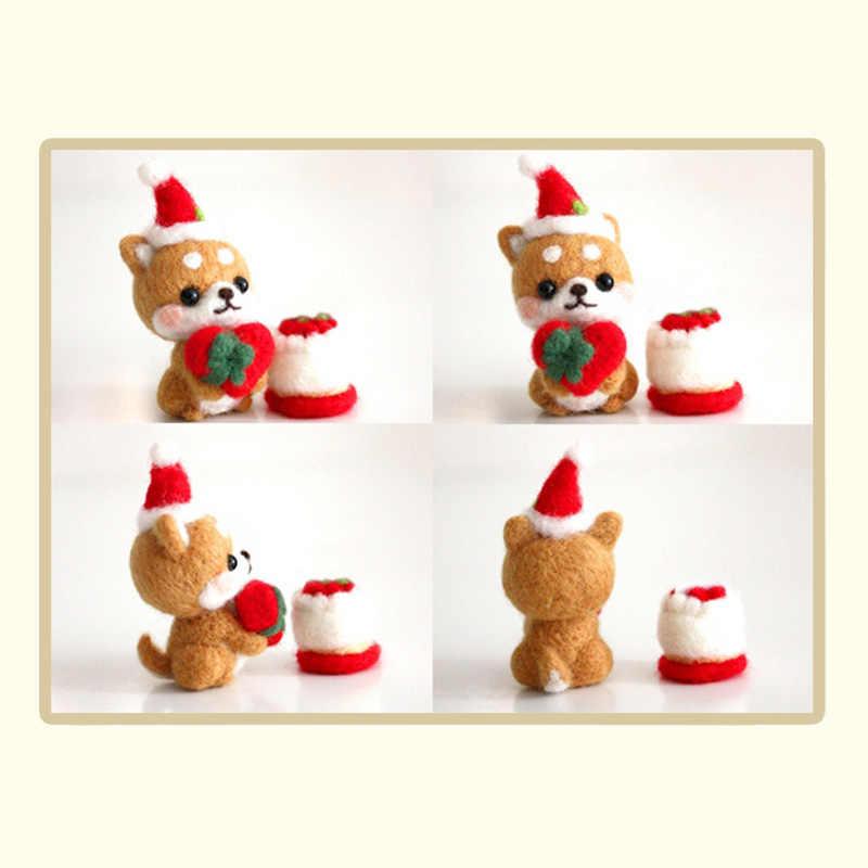 LMDZ 1 قطعة الإبداعية لطيف الكلب حيوان أليف دمية على شكل عروسة ورأى الصوف poted Kitting غير الانتهاء Handcarft الصوف التلبيد المواد حزمة