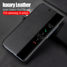 luxury Filp Leather case For samsung a10 2019 smart window view cover