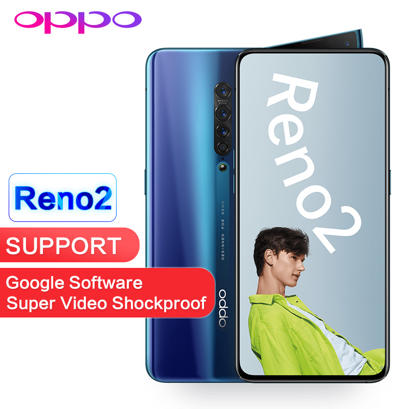 OPPO Reno2 8GB 128GB NFC OTA Update Support Global ROM Goolge Play 48MP 13MP 8MP 2MP 4 Cameras 2400x1080P Snapdragon 730 Phone