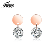 EyeYoYo Simple Round Zircon Small Stud Earring Women Fashion Jewelry Trend Accessories