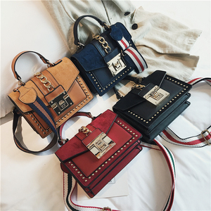 Image 5 - Small Handbags Fashion Shoulder Bags for Women 2020 Frosted PU Leather Hand Bags Rivet Chain Flap Ladies Crossbody Bag Red Brown