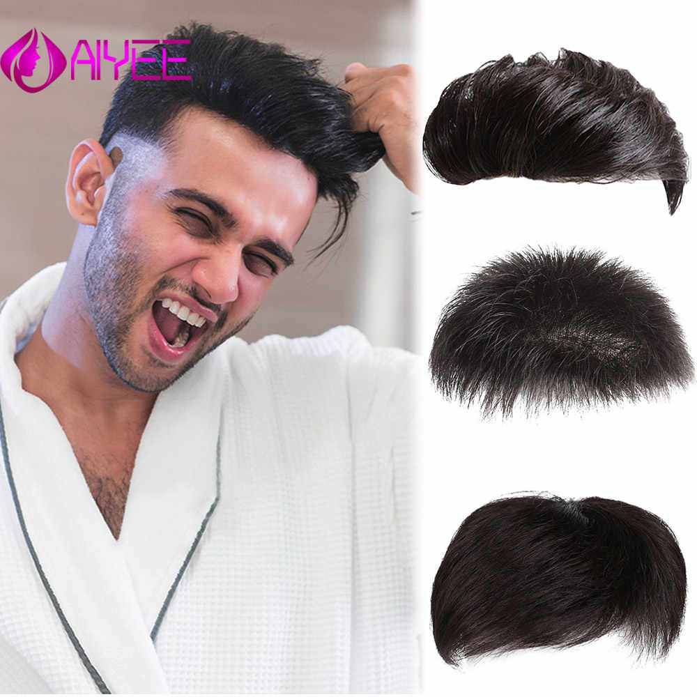 AIYEE 100% Hunman Hair Men's Real Hair Replacement Men's Short Hairs Men's Wigs, Handsome Top Replacement Films, Bald Foreheads