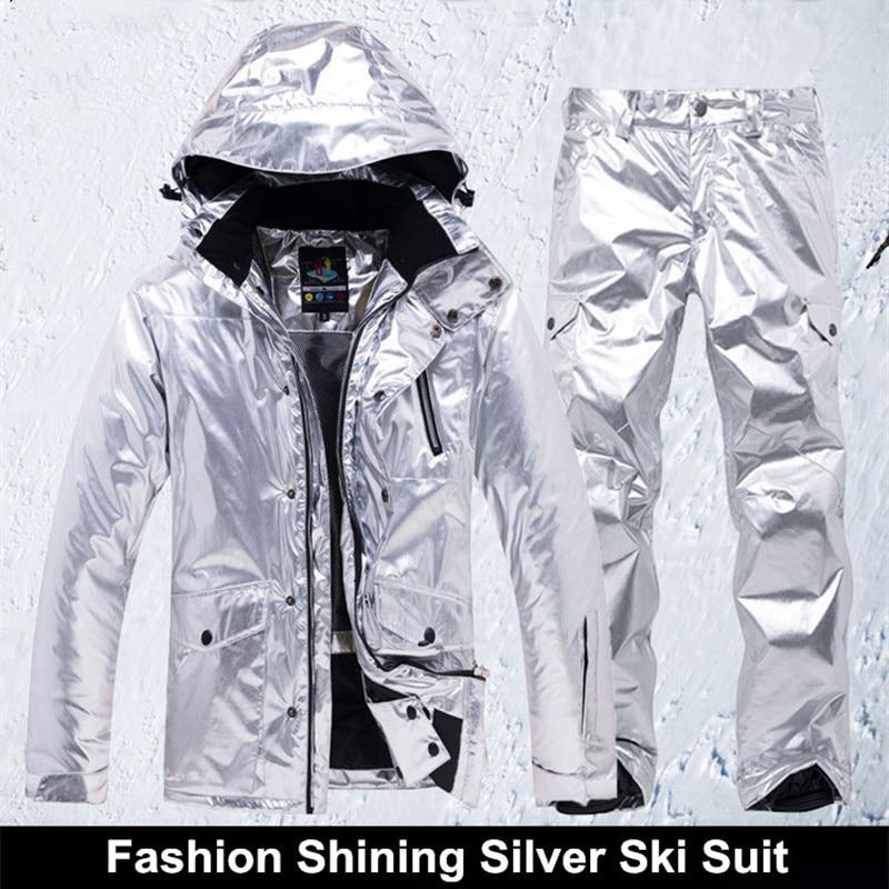 Shining Silver Mens Womens Ski Suit Winter Thermal Waterproof Windproof Snowboarding Jacket Pants Skiing Wear Female Snow Suits
