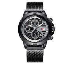 Relogio Masculino Mens Watch BIDEN Quartz Chronograph Sport Wristwatch Waterproof Stainless Steel Mesh Band Clock 0116