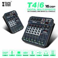 XTUGA-Mezclador de canales T4/6, Audio con efecto DSP, Bluetooth, USB, mezclador Digital de DJ, estéreo, reverberación para DJ, PC, mesa de grabación